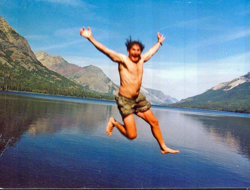 Amigo Jumping Into Lake Waterman Near End Of CDT HIke