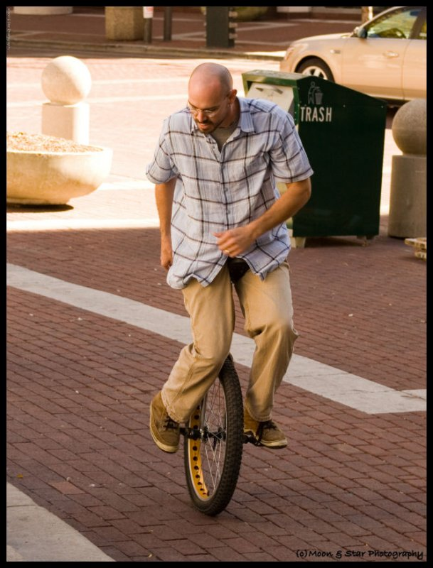 Unicycle on the circle