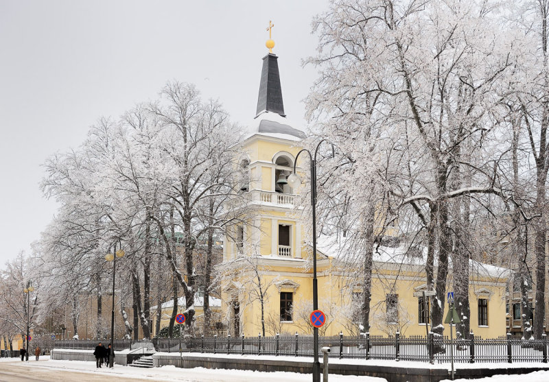 Church behind Frosty Trees