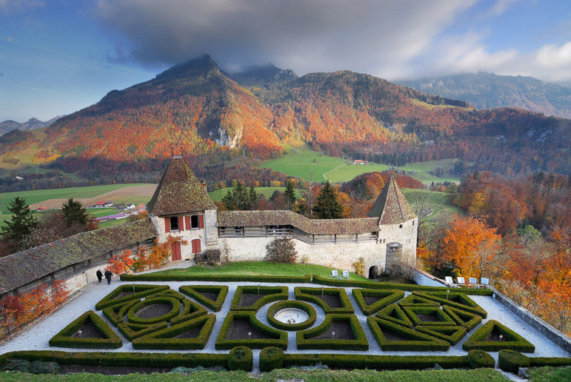 Autumn View over the Gruyeres Chateau Garden