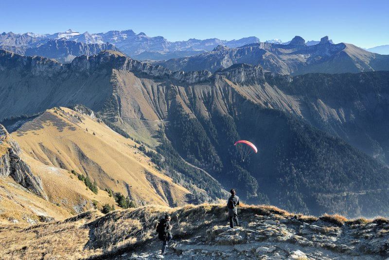 Hikers and Paraglider