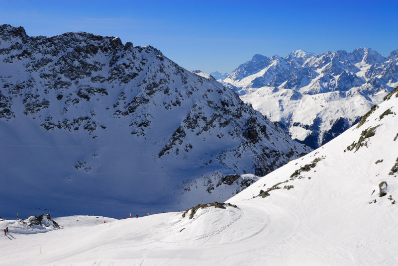 View down from Col des Gentianes