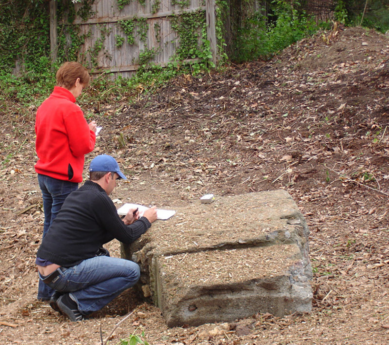 Landscapers planning for plantings in the newly prepared space