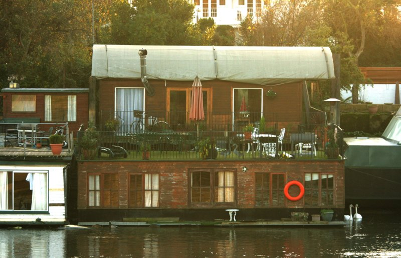 Houseboat, with lots of windows.