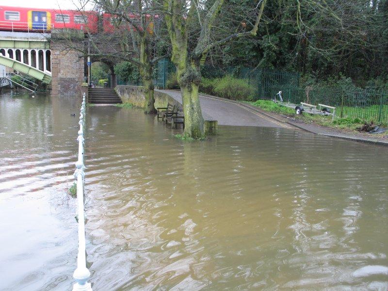 The foot of Twickenham railway bridge.