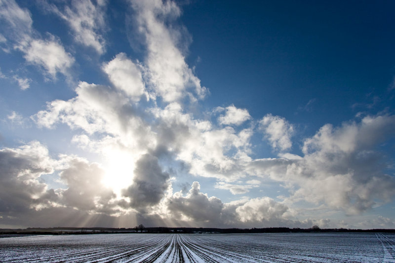 Snow in furrows