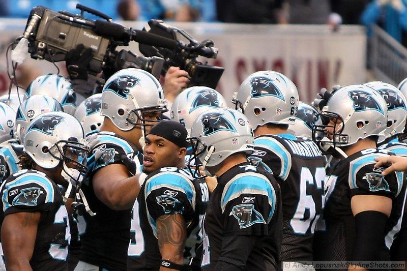 Carolina Panthers huddle