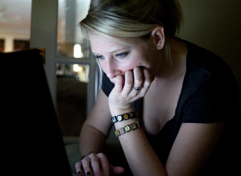Sarah on her laptop