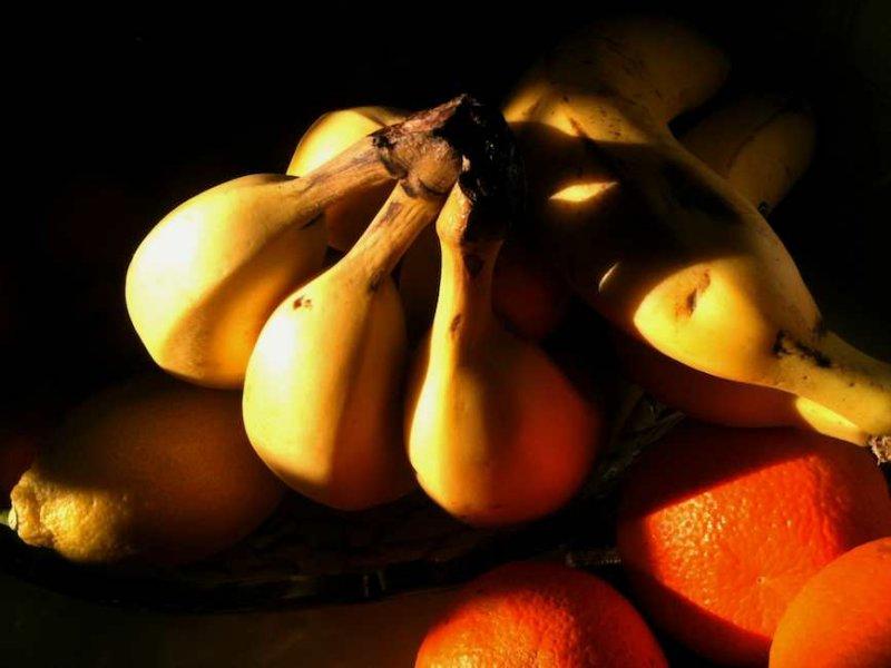 Still Life: Bananas, Tangerines, and a Lemon