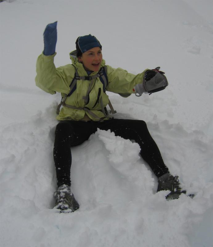 Jamie makes a snow angel