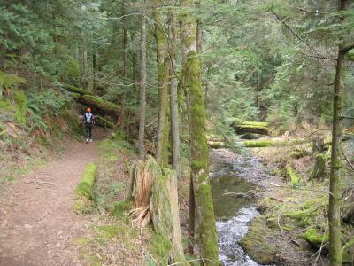 Joy running towards the falls