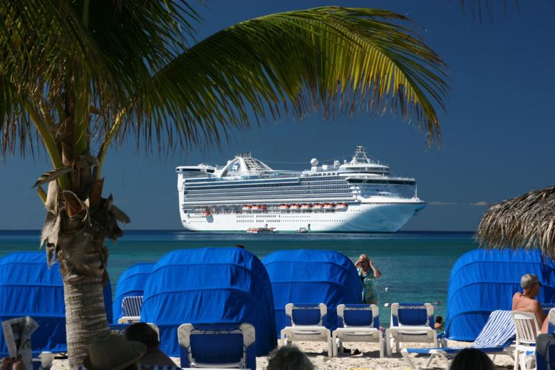 View of Caribbean Princess from private island
