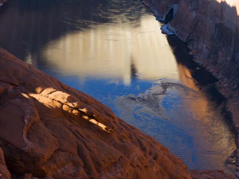 Glenn Canyon Dam Reflected on the Colorado River - Page, Arizona