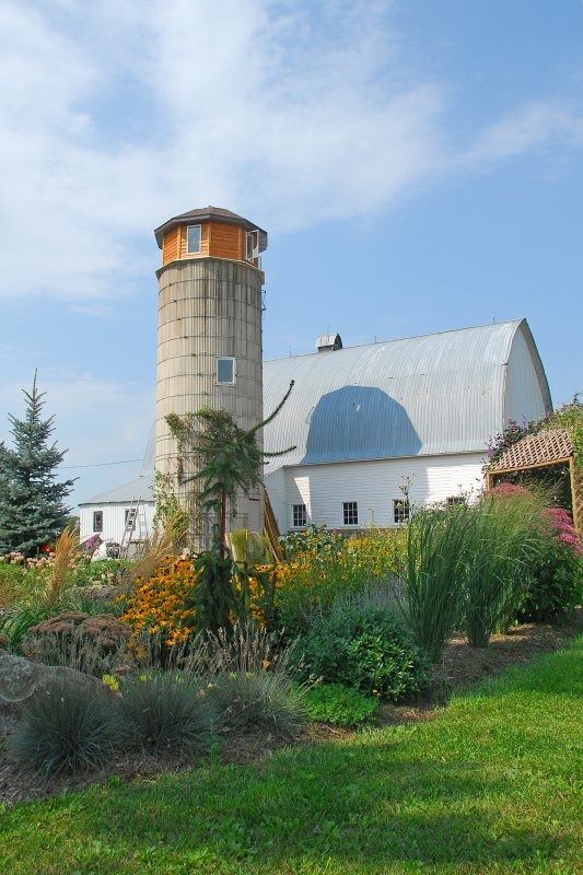 Our barn with the newly rebuilt silo