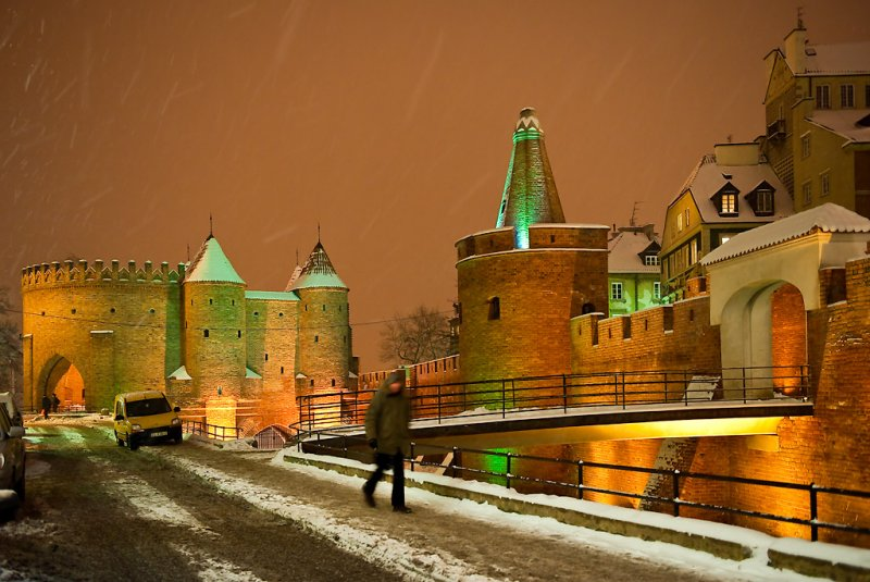 Barbican At Snowy Evening