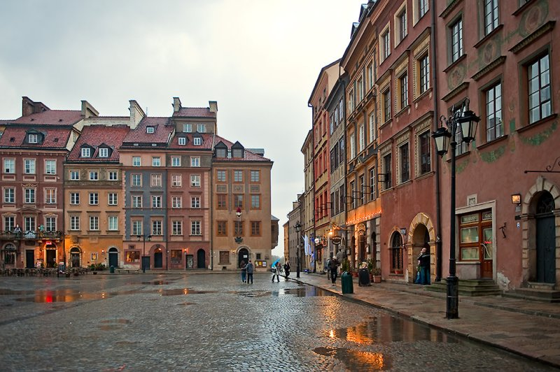 Old Town Square At Rainy Afternoon