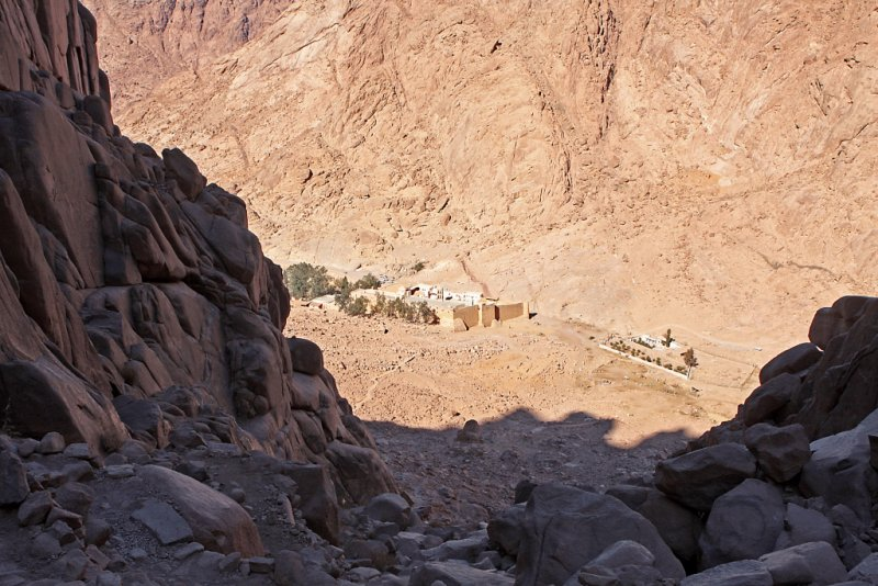 St Catherines Monastery from part way up Mt Sinai, Sinai