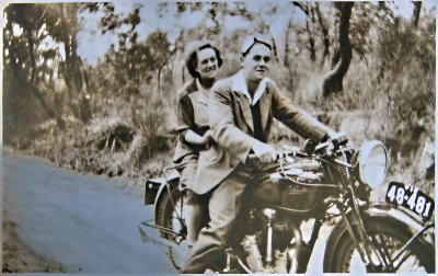 Grandma Dorothy Parr and Uncle Frank on a magnificent Velocette Motorcycle