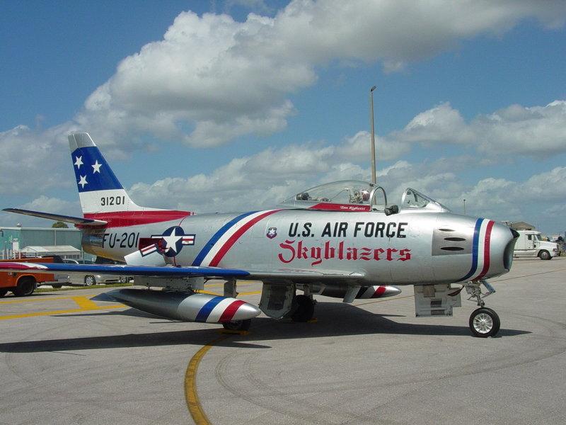 F-86 -with Skybalzers Paint Job. Pilot ,Dale  Snort  Snodrgass-Photo taken at Florida International AirShow 2004