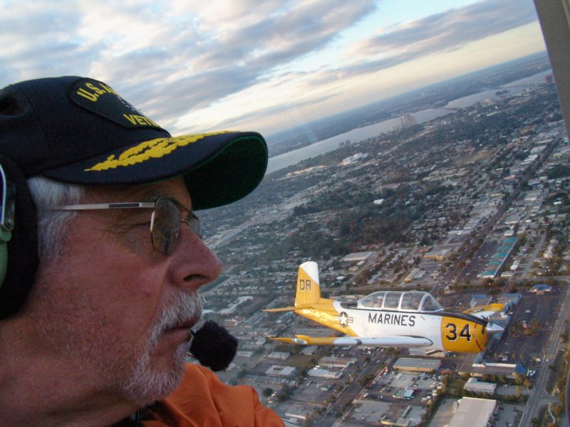 Photographer Jim in T-34 formation flight over Ft. Myers Fla.