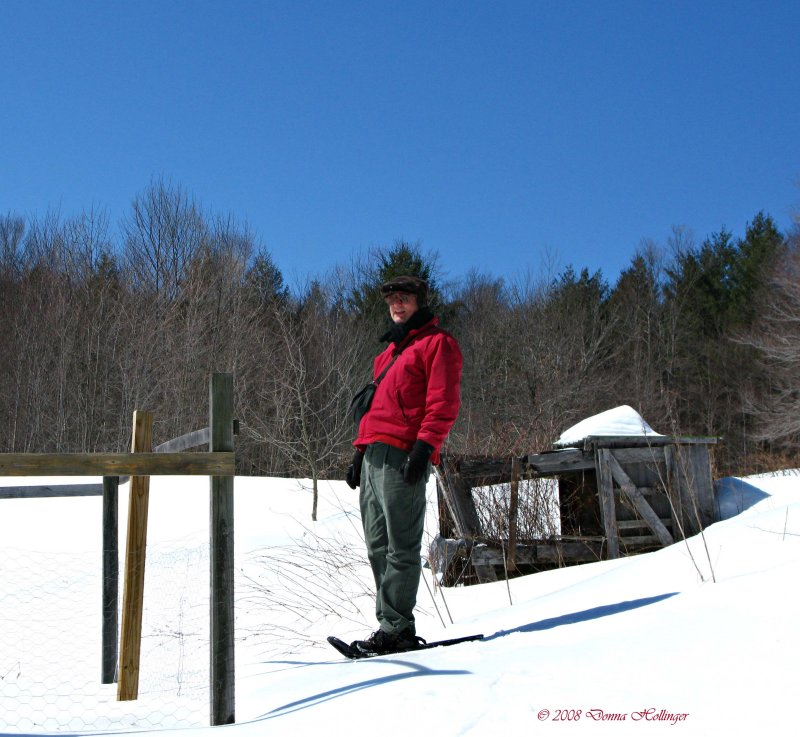 Peter snowshoeing in Vermont