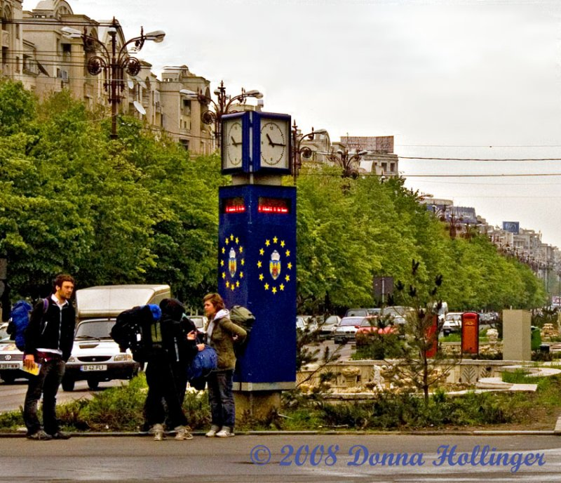 Changing Backpacks in center of Bucharest