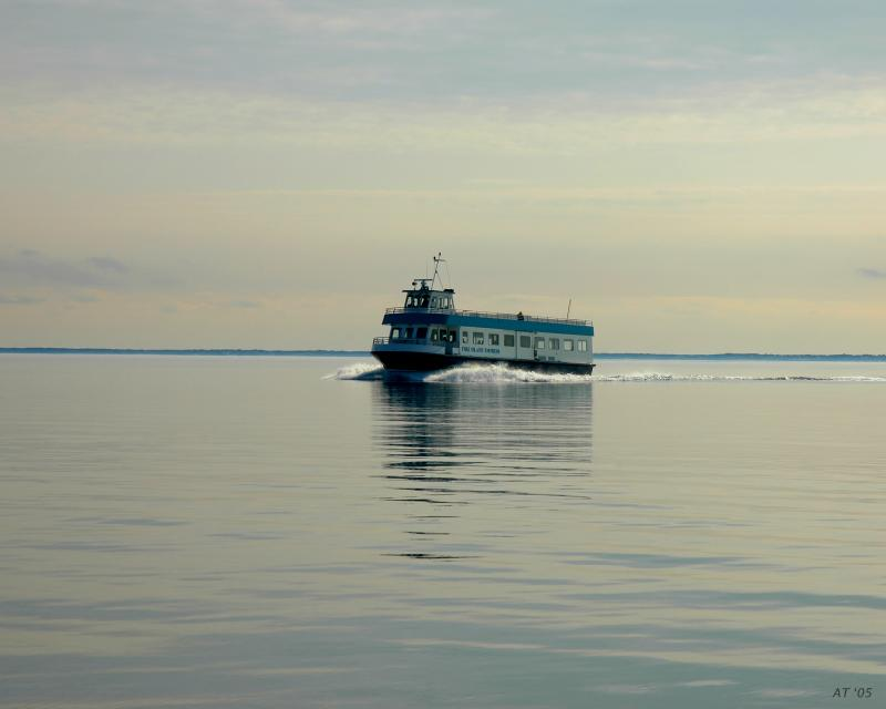 ferry on the calm bay