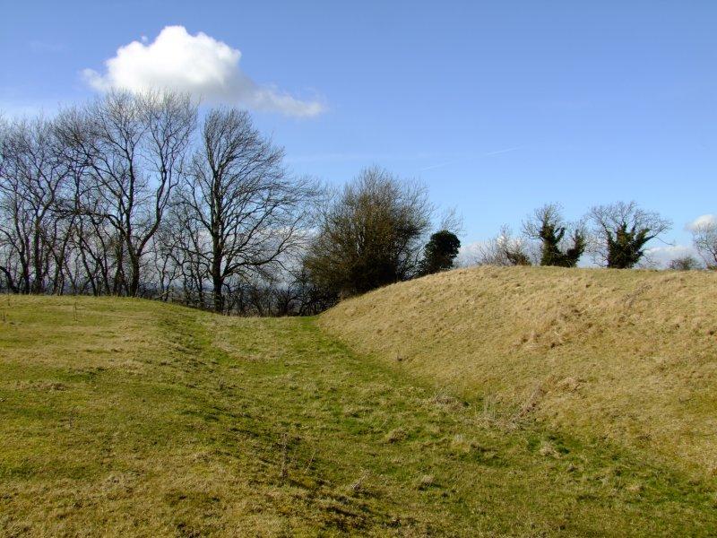 Bincknoll  Castle ;bailey rampart and ditch.
