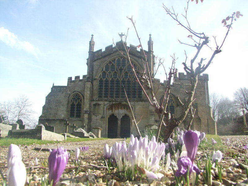 Spring flowers adorn the churchyard