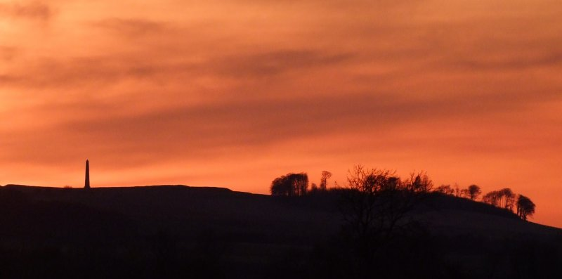 Cherhill  Down  and  the  Monument  at  sunset.