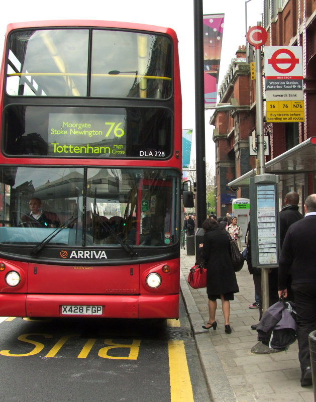 Route 76 Bus  outside  Waterloo  Station.