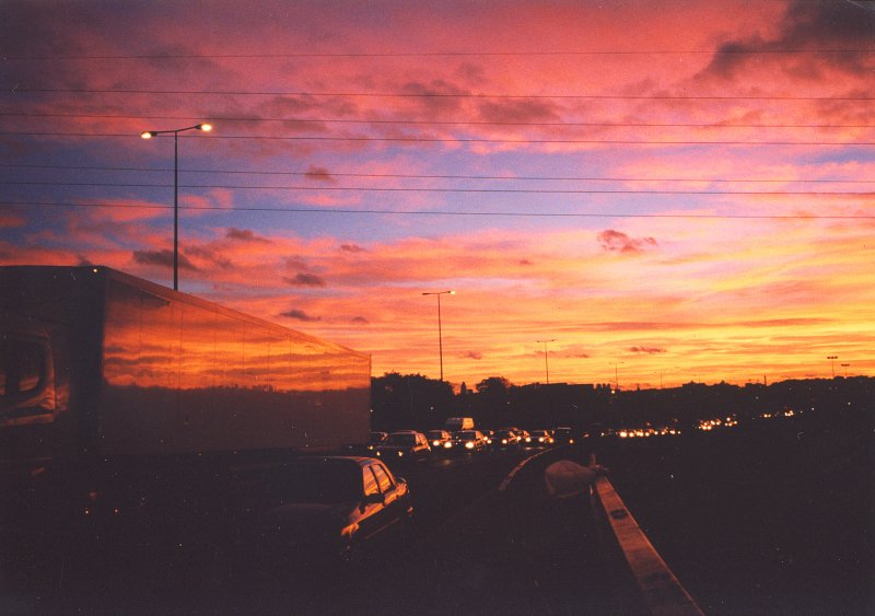 Hackney  Marshes  sunset.(before the Olympic Park was created)
