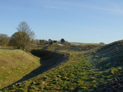 Avebury ,showing the ditch and banking to the south east.