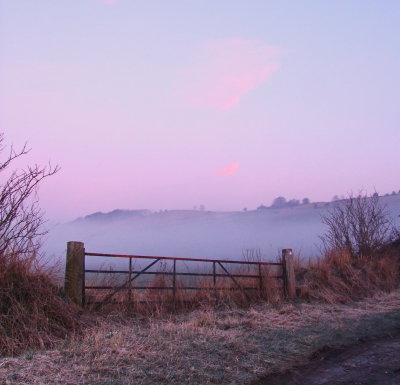 Olivers  Castle  hillfort , at  dawn.