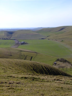 Rybury  hillfort  from  Milk  Hill.