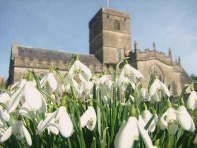 All  Saints  Church  fronted  by  seasonal  snowdrops.