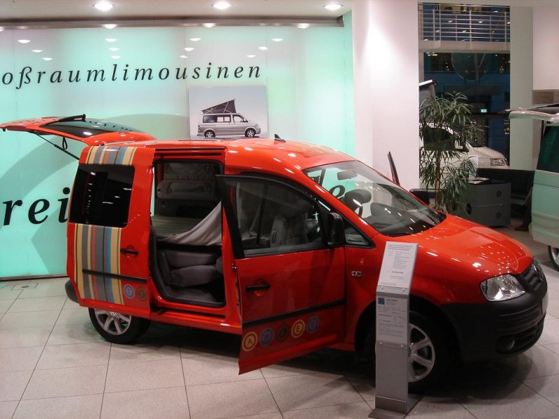 at the VW showroom