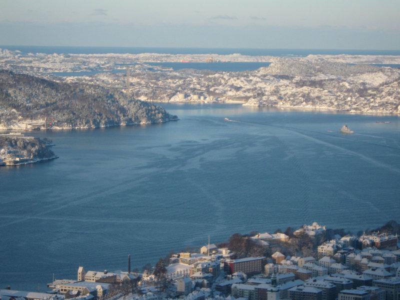 view from Fløyen: Byfjorden, Askøy island