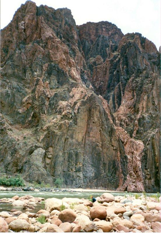 David and Cliffs of Vishnu Schist (black) and Zoroaster Granite (pink)