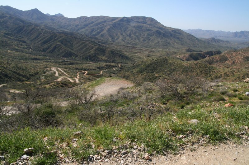 Looking down at some of the switchbacks