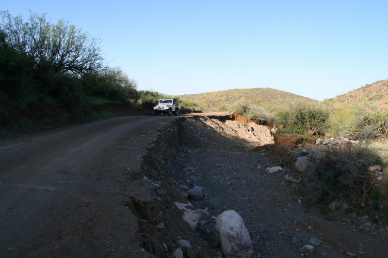 Road was almost washed out here