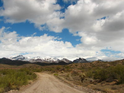 View of Superstition Mtns from Hewitt Station Road