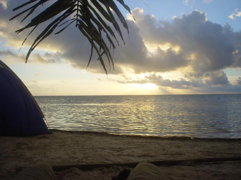 dawn in Mahahual, Mexico, from my tent