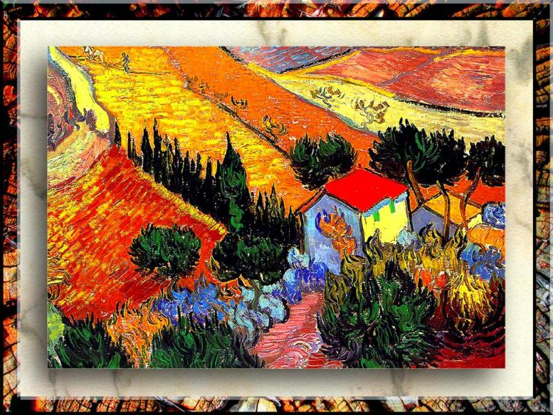 Impressionism By Van Gogh,-Landscape With House And Plowman