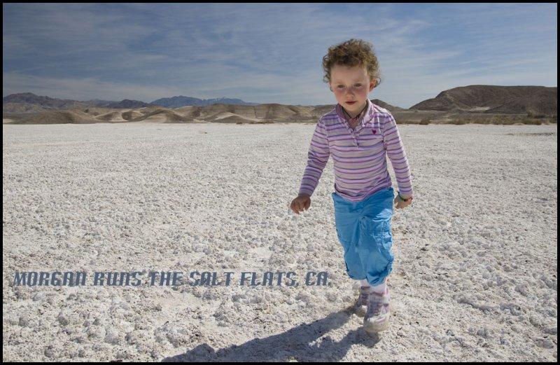 Morgan on the eastern California salt flats.