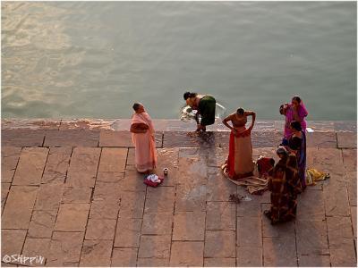women in holy lake of Pushkar, Rajasthan.