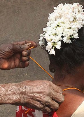 A young widow has to give up all attributes of a married woman, India.
