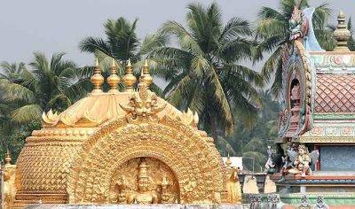The gold topped sanctum sanctorum of Ranganatha temple in Srirangam, Tamil Nadu.