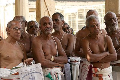 Priests at Sri Ranganatha temple in Srirangam, Tamil Nadu.