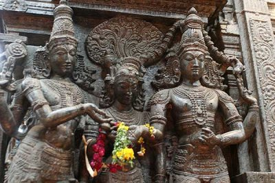 Sculpture of the celestial wedding of Shiva and Parvati at Meenakshi temple at Madurai.